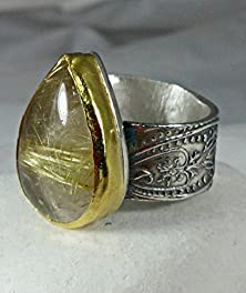 buy Rutile Quartz Ring In Yellow Gold And Silver