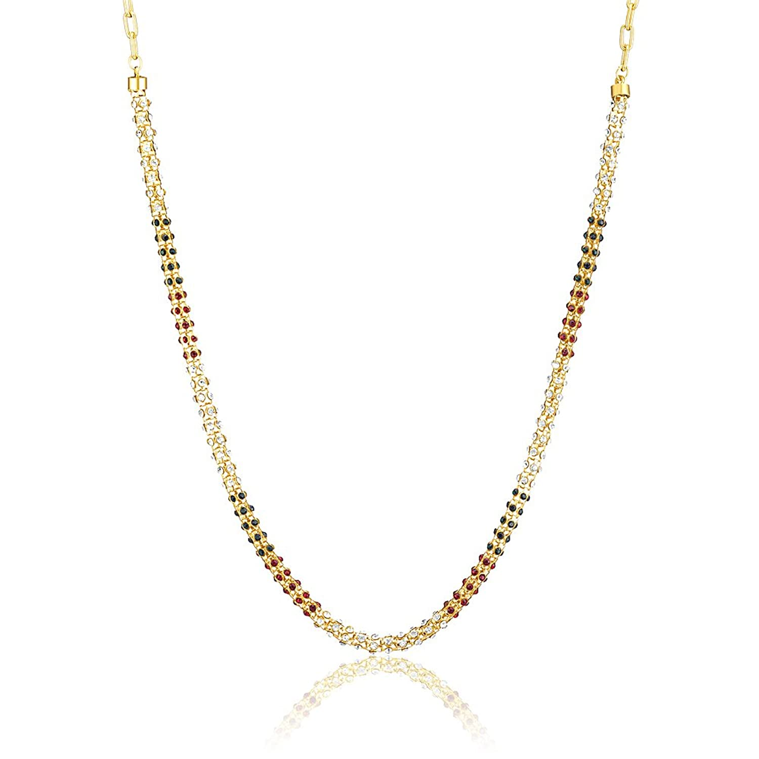 Donna Traditional Ethnic Gold Plated Diamond drops Chain with Crystals For Women CN27001G By Amazon @ Rs.319