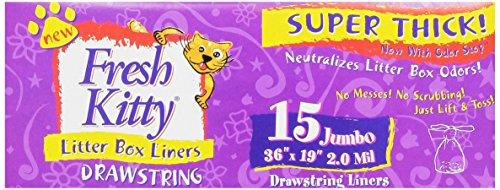 Fresh Kitty 15ct Super Thick Jumbo Drawstring Litter Box Liners (Fresh Kitty Litter Box Liners compare prices)