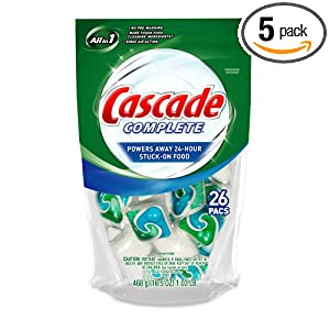 Cascade Complete ActionPacs, Dishwasher Detergent, All in one, 26-count Pouch (Pack of 5)