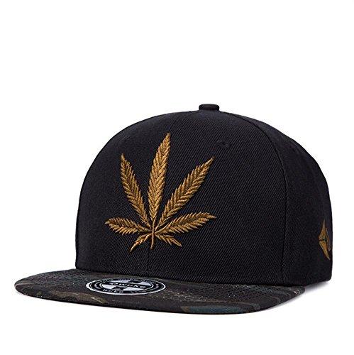 Unisex-Hip-Hop-Embroidered-Gold-Marijuana-Weed-Snapback-Hat-Adjustable-Baseball-Cap