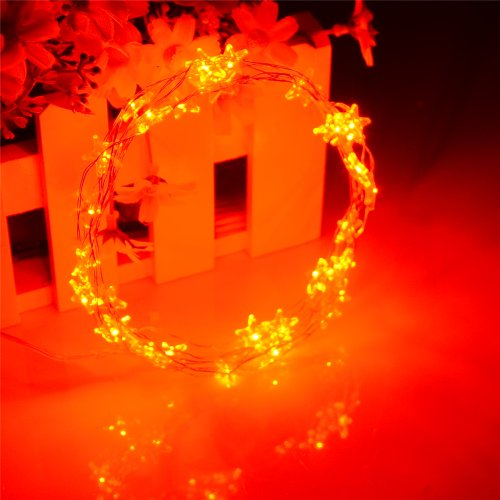 Inst Micro Led 30 Star Lights Battery Operated On 10Ft Long Copper Color String Wire (Red)