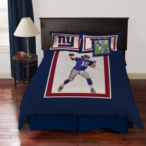 NFL Biggshots Bedding - New York Giants Eli Manning Comforter Set and Toss Pillow, Full at Amazon.com