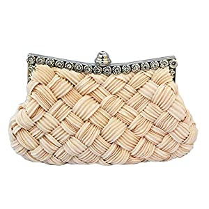 Chicastic Pleated and Braided Rhinestone studded Wedding Evening Bridal Bridesmaid Clutch Purse - Beige