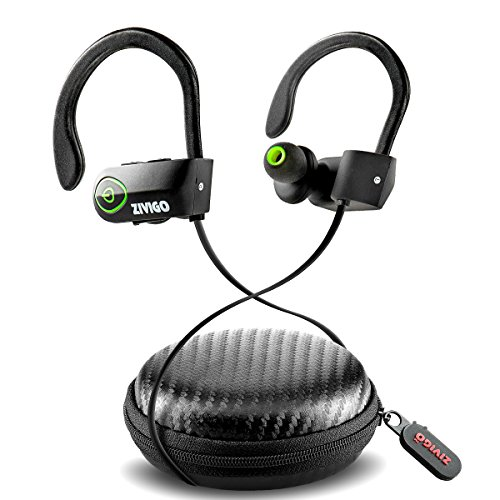 Bluetooth Earbuds By Zivigo Sweat-proof Headphones, IPX7 Waterproof Rated, Noise Cancellation Technology, Microphone & Voice prompts,
