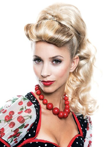 Hair Piece Ponytail Blonde Rockabilly Wig Theatre Costume Accessory Theater