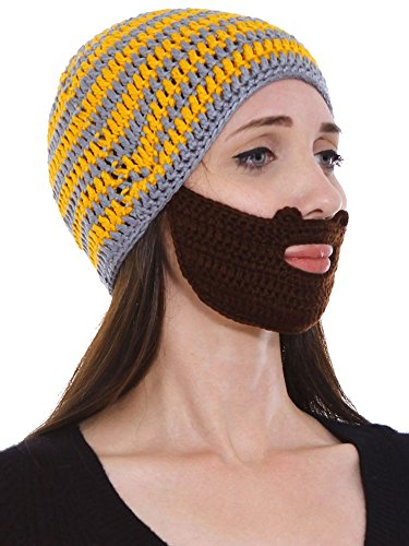 Beard Hat Beanie Bearded knit cap w/ Wind Guard Mustache Mask Face, Yellow
