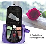 PETRICE Travel Toiletry Bag Compact Hanging Makeup Shower Storage Case Portable Travel Organizer, Purple