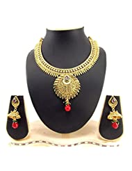 Aria Gold Plated Wedding Collection Bridal Ruby Green Necklace Set O183
