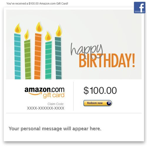 Amazon Gift Card – Facebook – Happy Birthday (Candles)