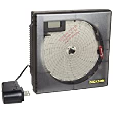 """Dickson Temperature Chart Recorder, 4"""" K-Thermocouple Probe, 7-Day or 24-Hour Rotation, 8 Temperature Ranges"""