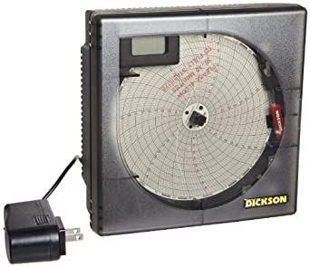 "Dickson Temperature Chart Recorder, 4"" K-Thermocouple Probe, 7-Day or 24-Hour Rotation, 8 Temperature Ranges"