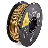 HATCHBOX 3D PLA-1KG3.00-GLD PLA 3D Printer Filament, Dimensional Accuracy +/- 0.05 mm, 1 kg Spool, 3.00 mm, Gold by HATCHBOX