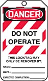 "Accuform Signs MLT406CTP Lockout Tag, Legend ""DANGER DO NOT OPERATE"", 5.75"" Length x 3.25"" Width x 0.010"" Thickness, PF-Cardstock, Red/Black on White (Pack of 25)"