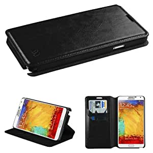 Galaxy Note 3 Case, E-Time(TM) Samsung Galaxy Note 3 Fashionable Premium Leather Protective Flip Cover and Card Holder Case Wallet Pouch (Free E-Time Brand Stylus Pen Included) (BLACK) (BLACK)