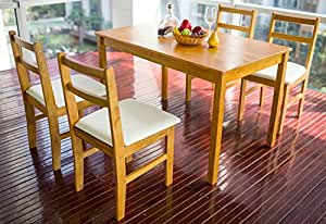 Merax 5pc Dinning Dinette 4 Person Table And Chairs Set Soild Pine Wood Dining