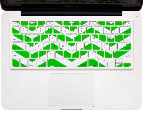 "Kuzy - Green Chevron Zig-Zag Keyboard Cover For Macbook Pro 13"" 15"" 17"" (With Or W/Out Retina Display) Imac And Macbook Air 13"" Silicone Skin - Green"