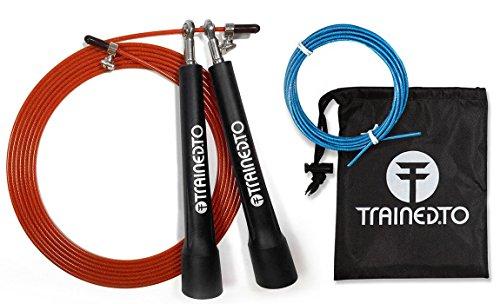 Corda da salto di velocità con cavo di riserva omaggio - GARANZIA A VITA - regolabile in base all'altezza - con cuscinetti sferici di qualità. Ideale per CrossFit, Boxing e per bruciare calorie