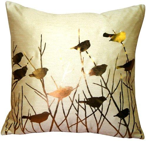Pillow Decor - Metallic Birds Desert Sand Throw Pillow