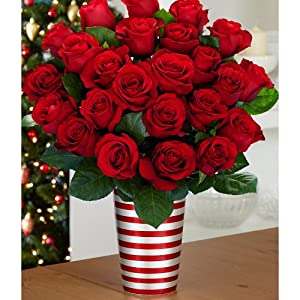 Two Dozen Red Roses (with FREE glass vase) - Flowers