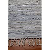 Homescapes Leather Glitter Runner - Natural Grey and Silver - 66 x 200 cmby Homescapes