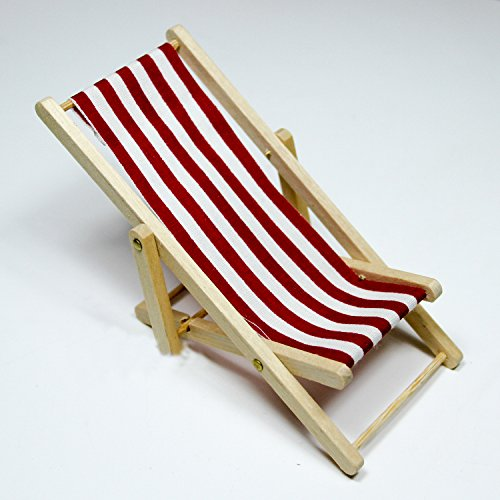 1:12 Stripe Red Foldable Beach Chair Wood Miniature Doll House Accessories Toy