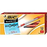 BIC Round Stic Grip Xtra Comfort Ball Pen, Fine Point (0.8 mm), Red, 12-Count