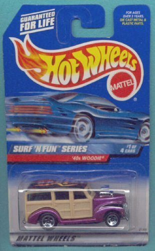 Mattel Hot Wheels 1999 1:64 Scale Surf N Fun Series Purple 40's Woodie Die Cast Car 1/4