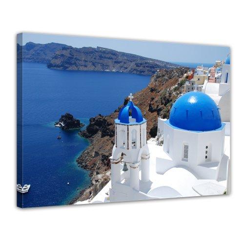 Bilderdepot24 Leinwandbild Santorini - Griechenland II - 70x50 cm 1 teilig - fertig gerahmt, direkt vom Hersteller