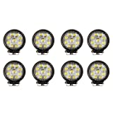 Masione LED Work Light FLOOD Lamp Tractor Truck SUV UTV ATV Offroad Waterproof 12V 24V (8 Pack, 27W Round, Flood Light)