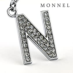 Z297 Bling Crystal Alphabet Initial DIY Letter N Keychain Key Ring for Pet Dog Cat Collar by monnelF from monnelF