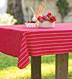 "USA-Made Striped Terry Tablecloth, 60""W x 80""L, in Red"