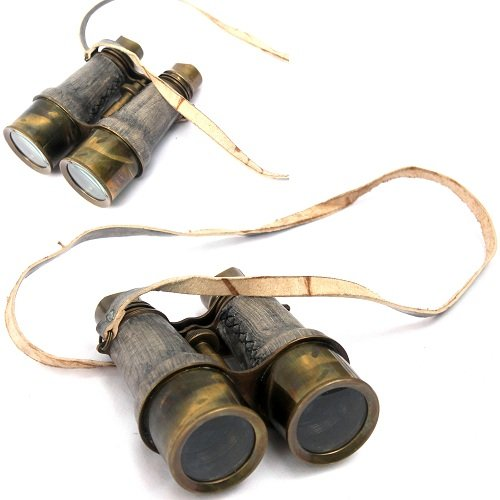 Collectibles Buy Antique Victorian Leather Covered Brass Binocular Finish 5