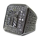 Mens Full of Faux Diamonds Cross of Ice A Class HipHop Bling Ring [Jewellery]