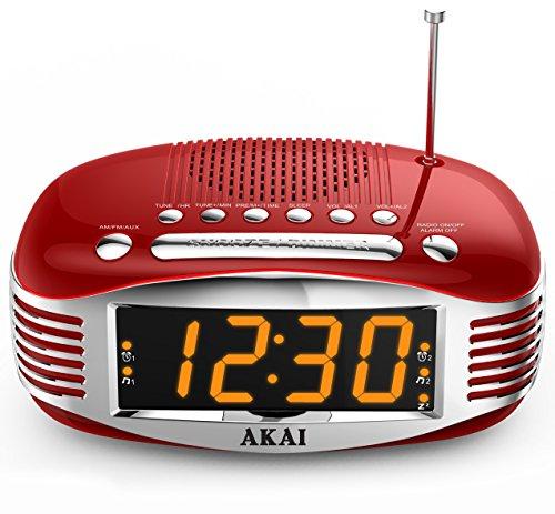Akai Retro Style Radio Alarm Clock, Red (CE1500R) (Red Digital Clock compare prices)