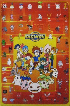 Television Maxi Poster featuring A Collection of Digi Monsters from the Anime Cartoon, Digimon 61x91.5cm