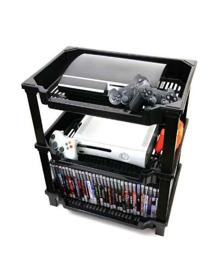 Mega Game Console Storage Plastic Shelf in Black