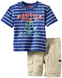 Nautica Baby-Boys Infant Striped Jeans Co Short Set, Mailman, 24 Months