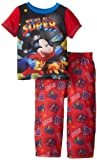 Komar Little Boys' Mickey Mouse 2 Piece Short Sleeve and Pant Pajama Set, Red, 2T