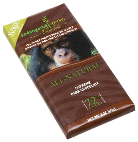 Endangered Species Chimpanzee, Supreme Dark Chocolate (72%), 3-Ounce Bars (Pack of 12)