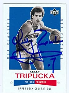Kelly Tripucka autographed Basketball Card (Detroit Pistons) 2002 Upper Deck #135 by Autograph Warehouse