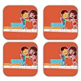 MeSleep Happy Rakhi Wooden Coaster-Set Of 4 - B013LEJD3G