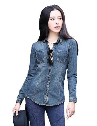 Lana Hua Women Dark Blue Button Down Western Denim Shirt