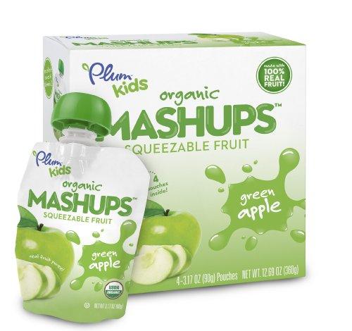 Plum Kids Organic Fruit Mashups Green Apple 4 Count Pack of 6