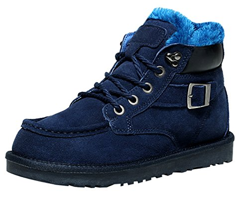 MILANAO Men Keep Warm Thick Fluff Fasion Buckle Lace Up Waterproof Snow Boots