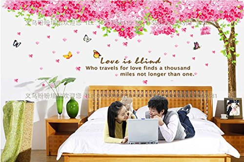 Removable Bedroom Wall Stickers Glass Sticker Romantic Cherry Blossoms front-330484