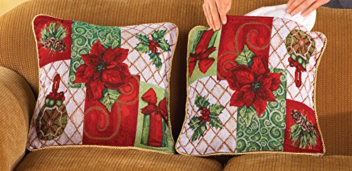 Read About 18 Festive Christmas Holiday Tapestry Pillow Covers- Set Of 2