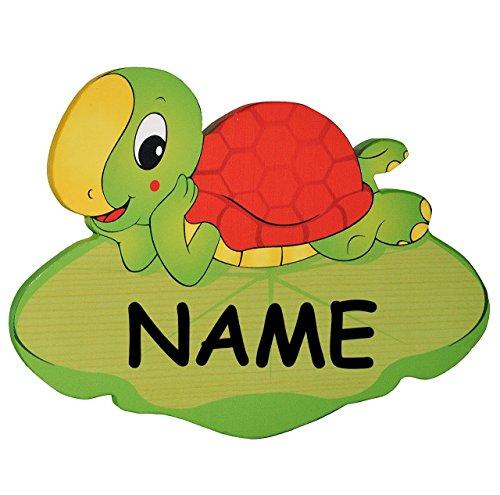 Namensschilder Aus Holz FUr Kinderzimmer ~ Türschild  Namensschild  Wandbild  aus Holz  Schildkröte incl