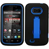 Asmyna Hybrid Dual Layer Protector Cover with Kickstand for ZTE Awe N800 - Retail Packaging - Dark Blue/Black