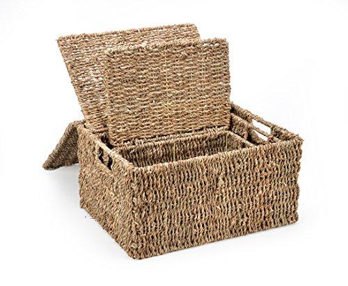 Trademark Innovations Rectangular Seagrass Baskets with Lids (Set of 3) (Wicker Basket With Lid And Handle compare prices)